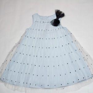 Sheer Blue Pleated Dress